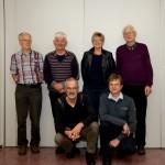Het bestuur van de HFDP in beeld. Achter, v.l.n.r., Peter Terpstra, Jan Bijlsma, Geke van Boekel en Evert Meijer. Voor, v.l.n.r., Laurens Reitsma en Sjouke van der Heide.