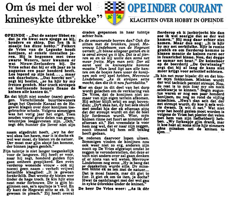 Klikken is vergroten. Oorsprong: de Leeuwarder Courant van 18 november 1977, pagina 6.