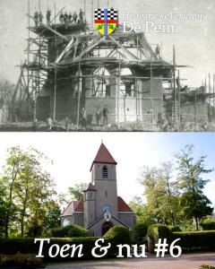Boven de Nederlands Hervormde Kerk in aanbouw (1907-1908), onder hoe de kerk er nu bij staat (foto door Jaap de Vries).