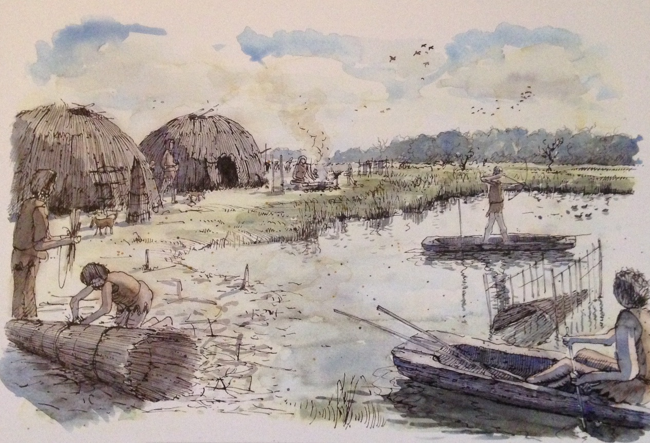 Reconstructietekening van het 'vissersdorpje' aan de oever van De Leijen bij het Swartfean (door Peter Paul Hattinga Verschure).