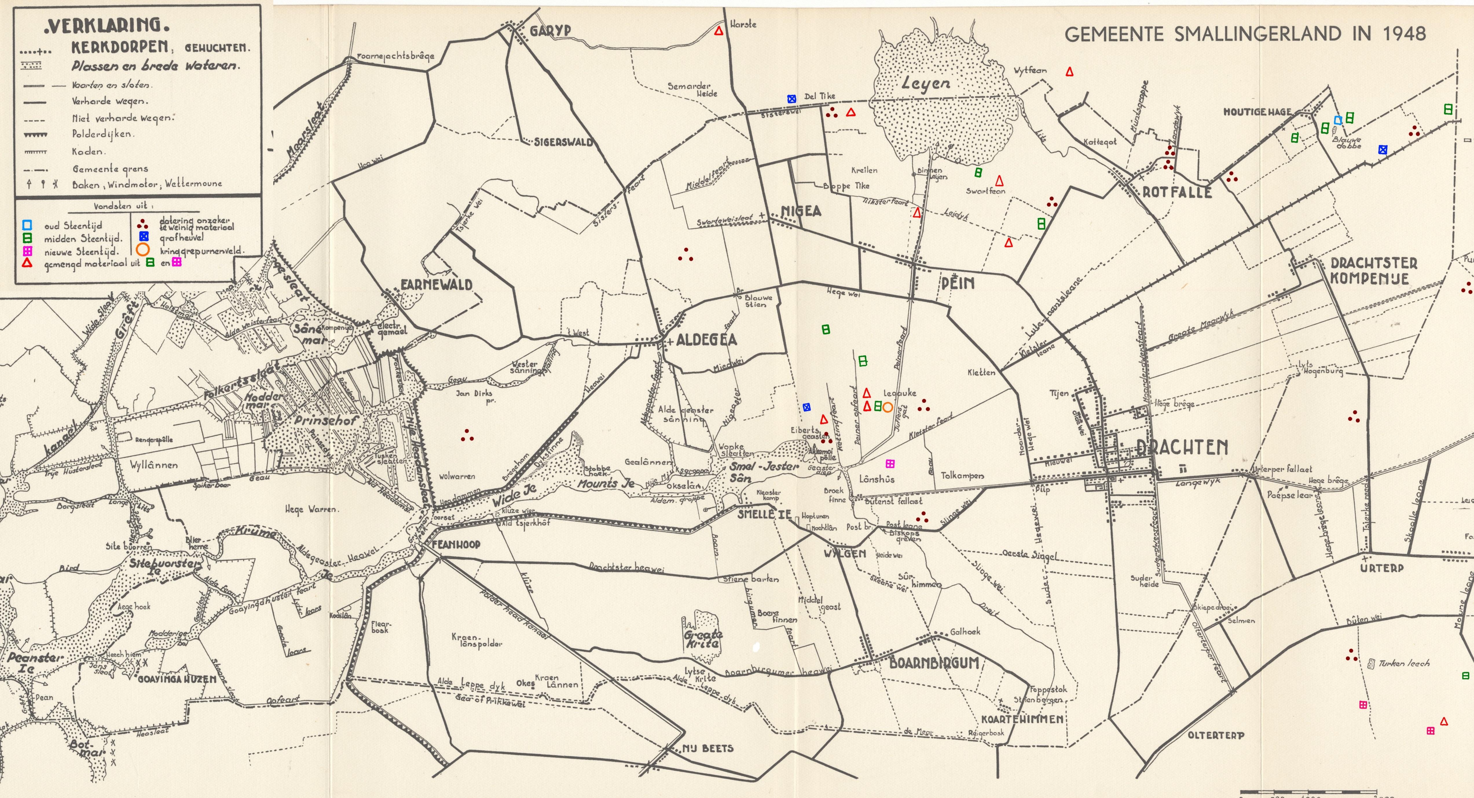 Archeologische vondstenkaart van Smallingerland door dr. Siebinga (1948). Klikken is vergroten.